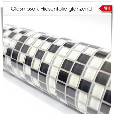 Glasmosaik Fliesenfolie mit glänzender Schutzoberfläche -