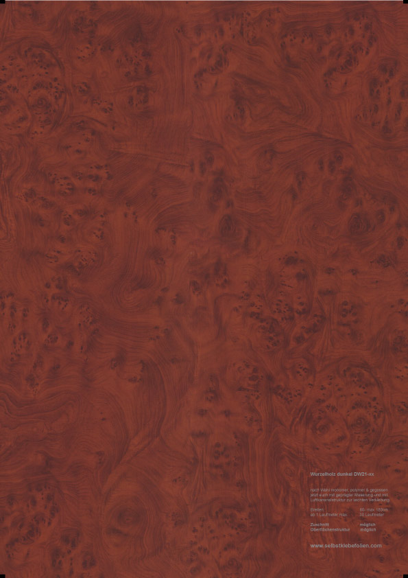 Dunkel wurzelholz holzdekor klebefolie for Polymere klebefolie