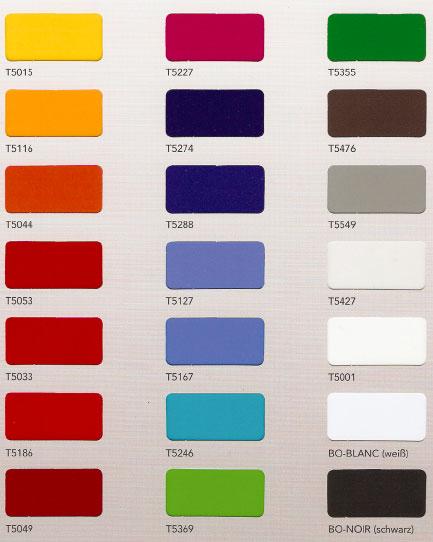 Farbübersicht transluzente Klebefolien