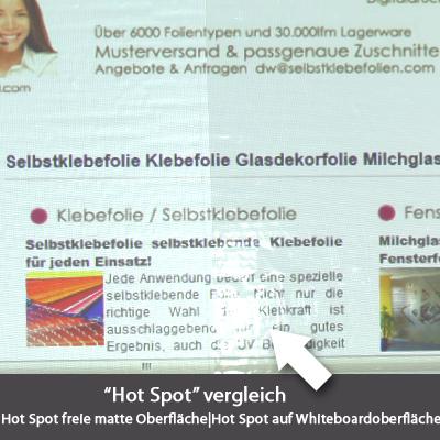 Vergleich Hotspot freie Whiteboardfolie
