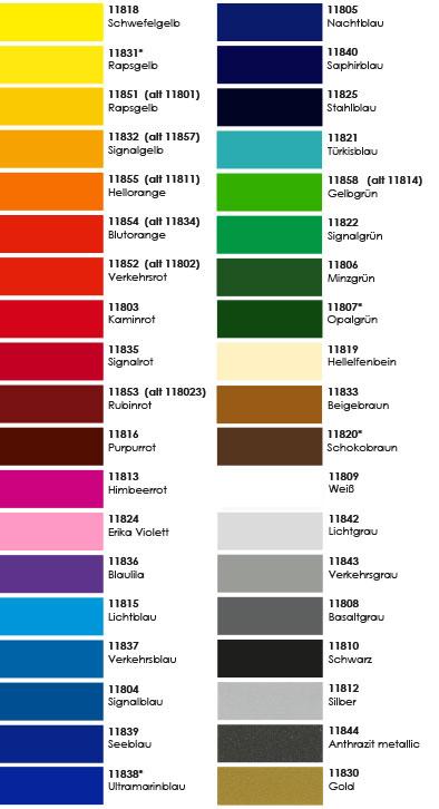 Farbübersicht polymere Klebefolie C118