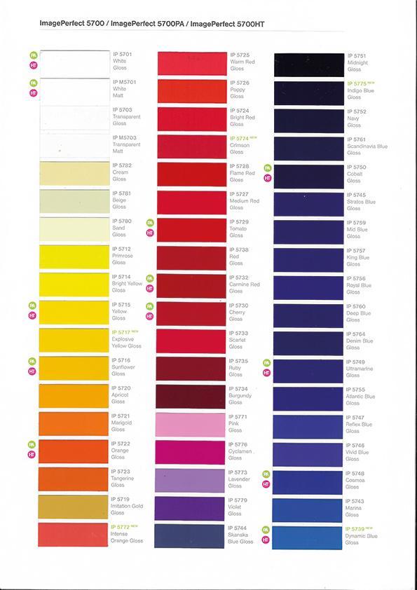 Farbübersicht imageperfect IP5700