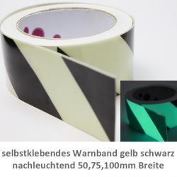 nachleuchtende selbstklebendes Warnband gelb schwarz