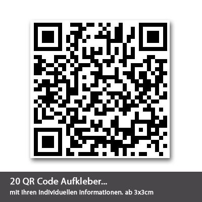 qr code aufkleber 20 st ck. Black Bedroom Furniture Sets. Home Design Ideas