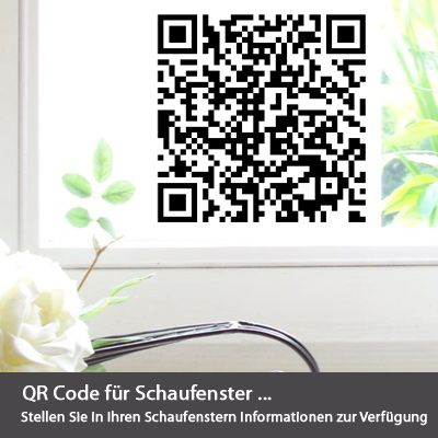 qr code aufkleber auf glasdekor. Black Bedroom Furniture Sets. Home Design Ideas