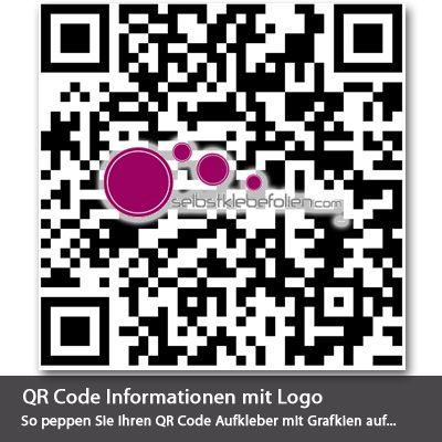 50 qr code aufkleber mit logo. Black Bedroom Furniture Sets. Home Design Ideas