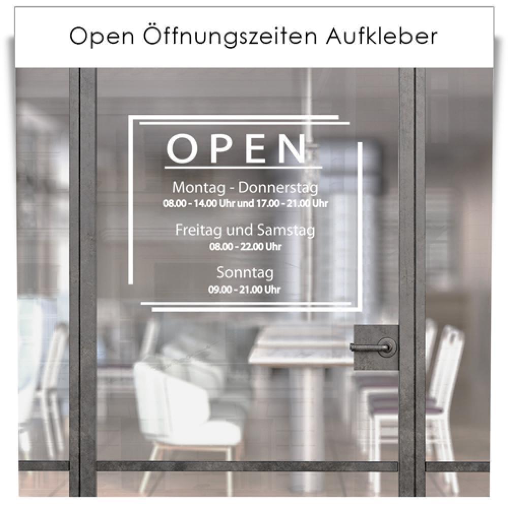 Open Öffnungszeiten Aufkleber