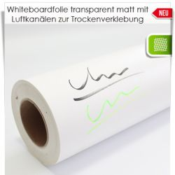 Whiteboardfolie transparent matt mit Luftkanälen