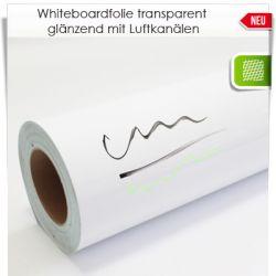 Whiteboardfolie transparent glänzend mit Luftkanälen