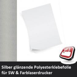 Klebefolie für Laserdrucker silber glänzend A3