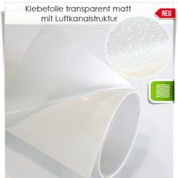 Klebefolie transparent matt mit Luftkanalstruktur