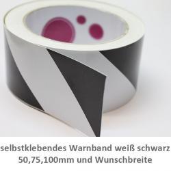 selbstklebendes Warnband weiß schwarz